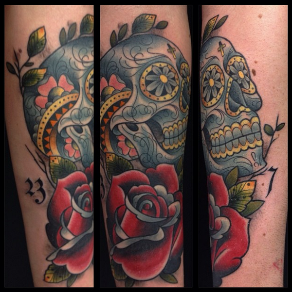 Skull and Rose by Leon