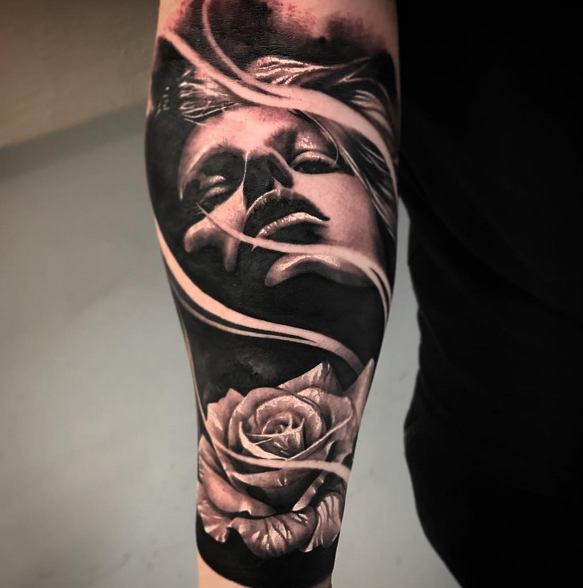 Rose and Portrait by Robert